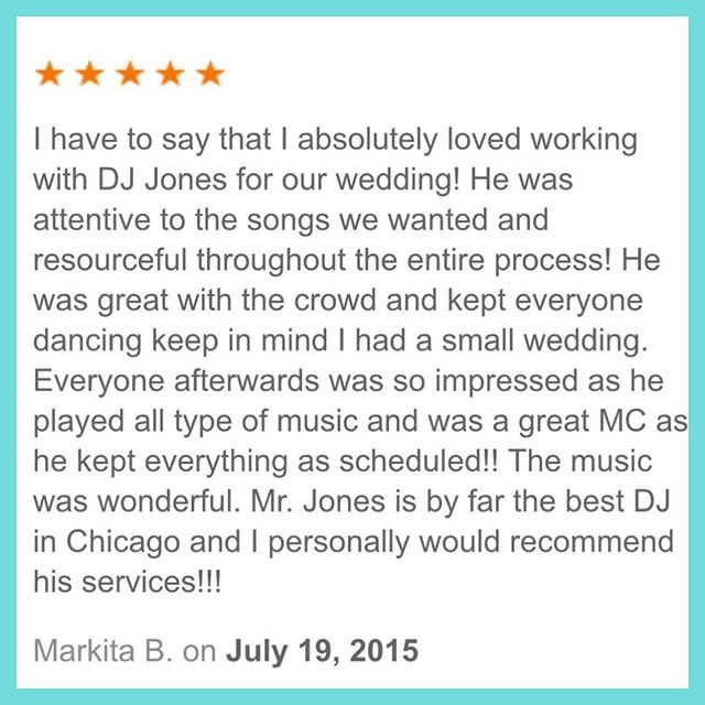 DJ D JONES CHICAGO LUXURY EXCLUSIVE PRIVATE WEDDING reviews