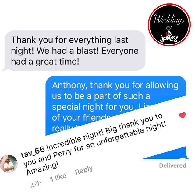 My clients are simply great! Saturday's groom texted and commented about his experience. There's nothing better than knowing you've given 100% and your clients are happy with the results 😃 with @perrydontae on the drums and myself on the turntables you're wedding entertainment will be unforgettable. Visit Weddingsbydjones.com