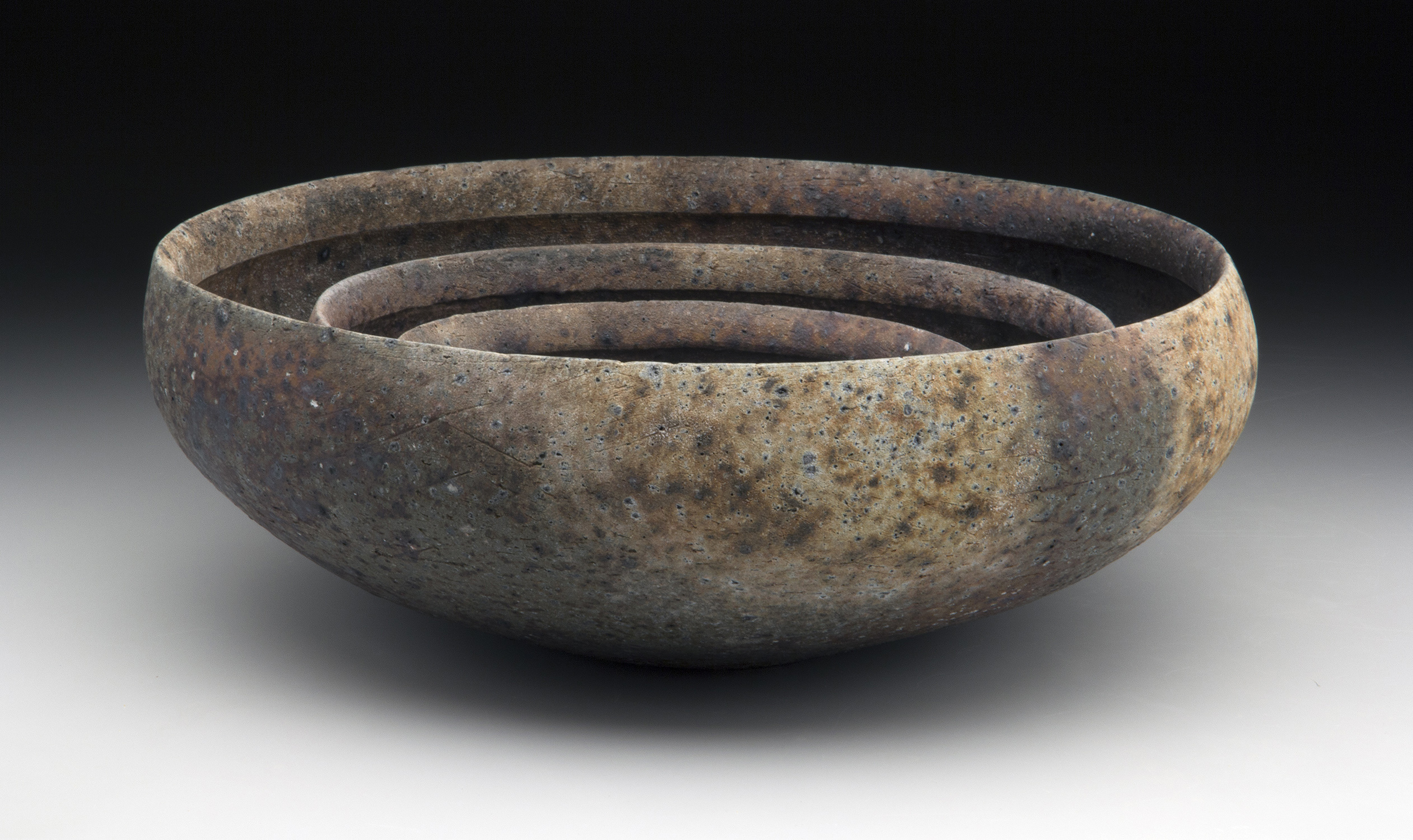 "Nesting Bowls, 2013, Wood fired local stoneware, 5.5"" x 15"" x 15"""