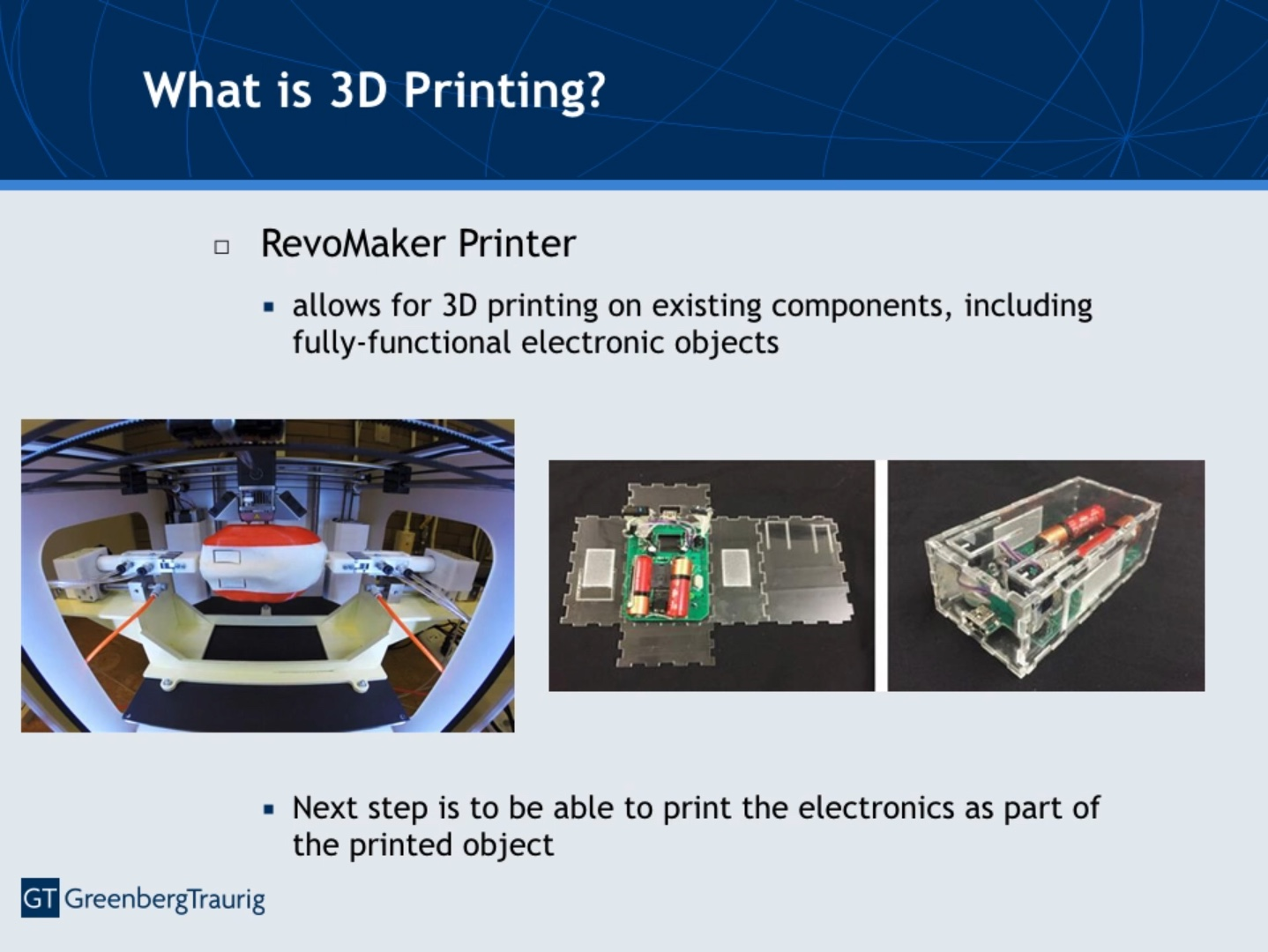 Screenshot from a presentation given to the US Patent and Trademark Office (USPTO) about the future of 3D printing