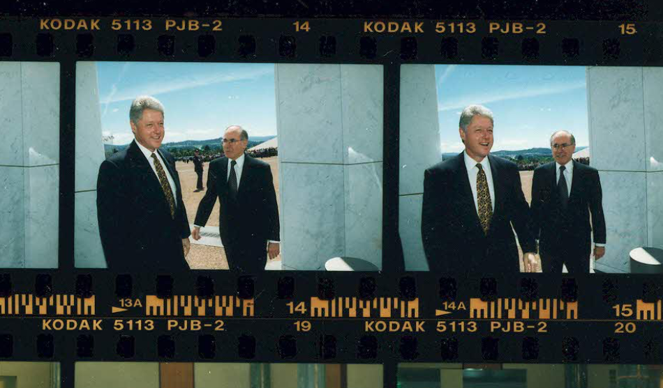 President Bill Clinton and Prime Minister John Howard at the Australian War Memorial in Canberra on November 20, 1996 (Clinton Presidential Library)