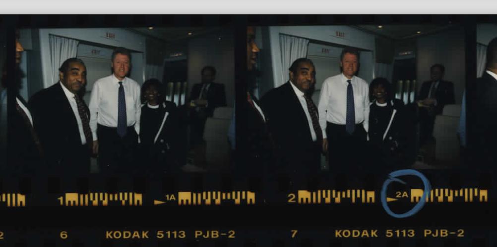 Congressman Charles Rangel on Air Force One on a flight to Haiti on March 31, 1995 (Photo sheet: P025992)