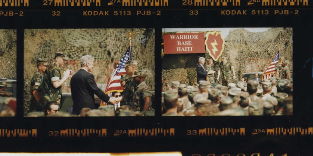 President Bill Clinton at the Warrior Base in Haiti on March 31, 1995 (Photo sheet: P026041)