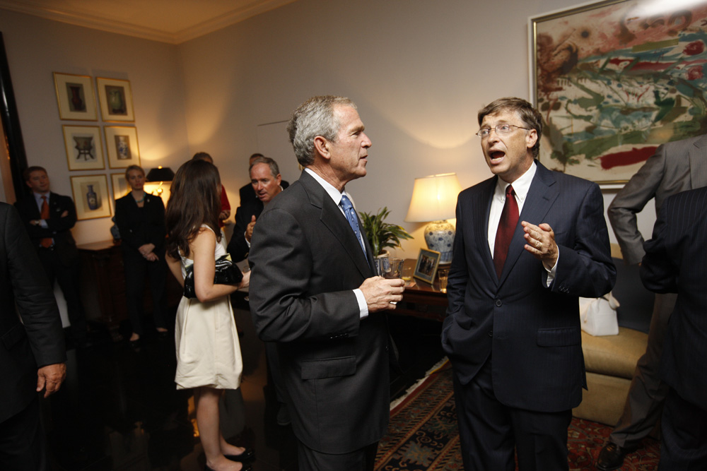 President George W. Bush and Bill Gates at a reception with CEO sponsors of the 2008 United States Summer Olympic Team at the Ambassador's Residence in Beijing, China on August 9, 2008  M1Hi_j0153 (George W. Bush Presidential Library and Museum)