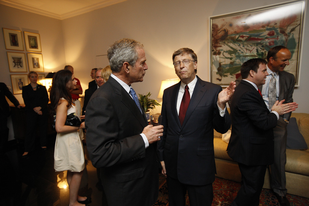 President George W. Bush and Bill Gates at a reception with CEO sponsors of the 2008 United States Summer Olympic Team at the Ambassador's Residence in Beijing, China on August 9, 2008  M1Hi_j0096 (George W. Bush Presidential Library and Museum)