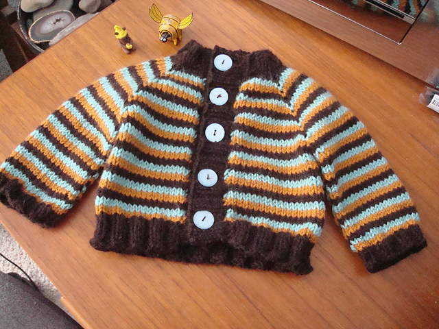 Little Coffee Bean Cardigan sweater pattern knit with Wooly Worsted yarn
