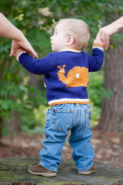 Tipped Baby Cardigan  knitting pattern by Kate Oates, Tot Toppers