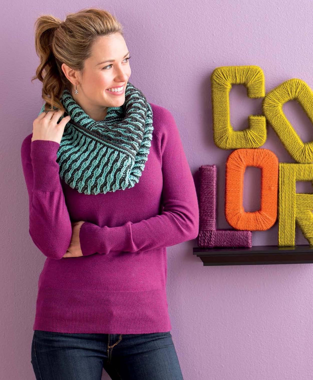 Reversible Infinity Scarf  knitting pattern by Mercedes Tarasovich-Clark,  Brioche Chic