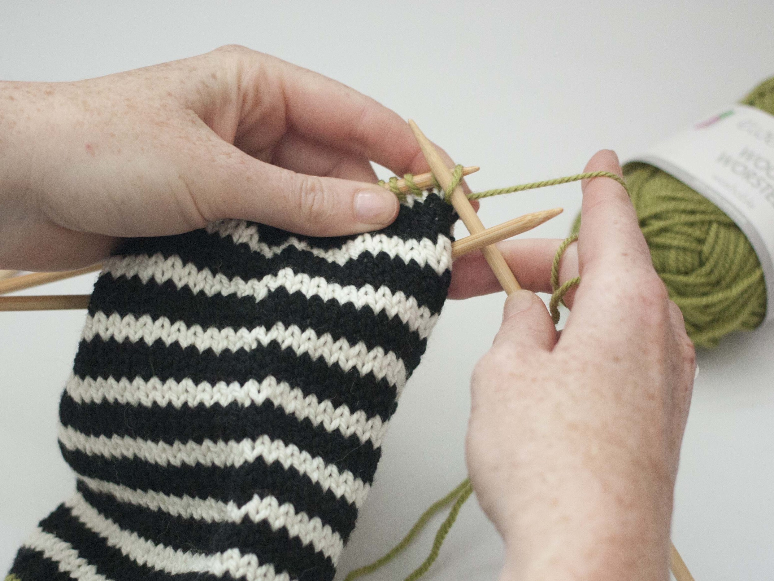 knitting the heel of a sock
