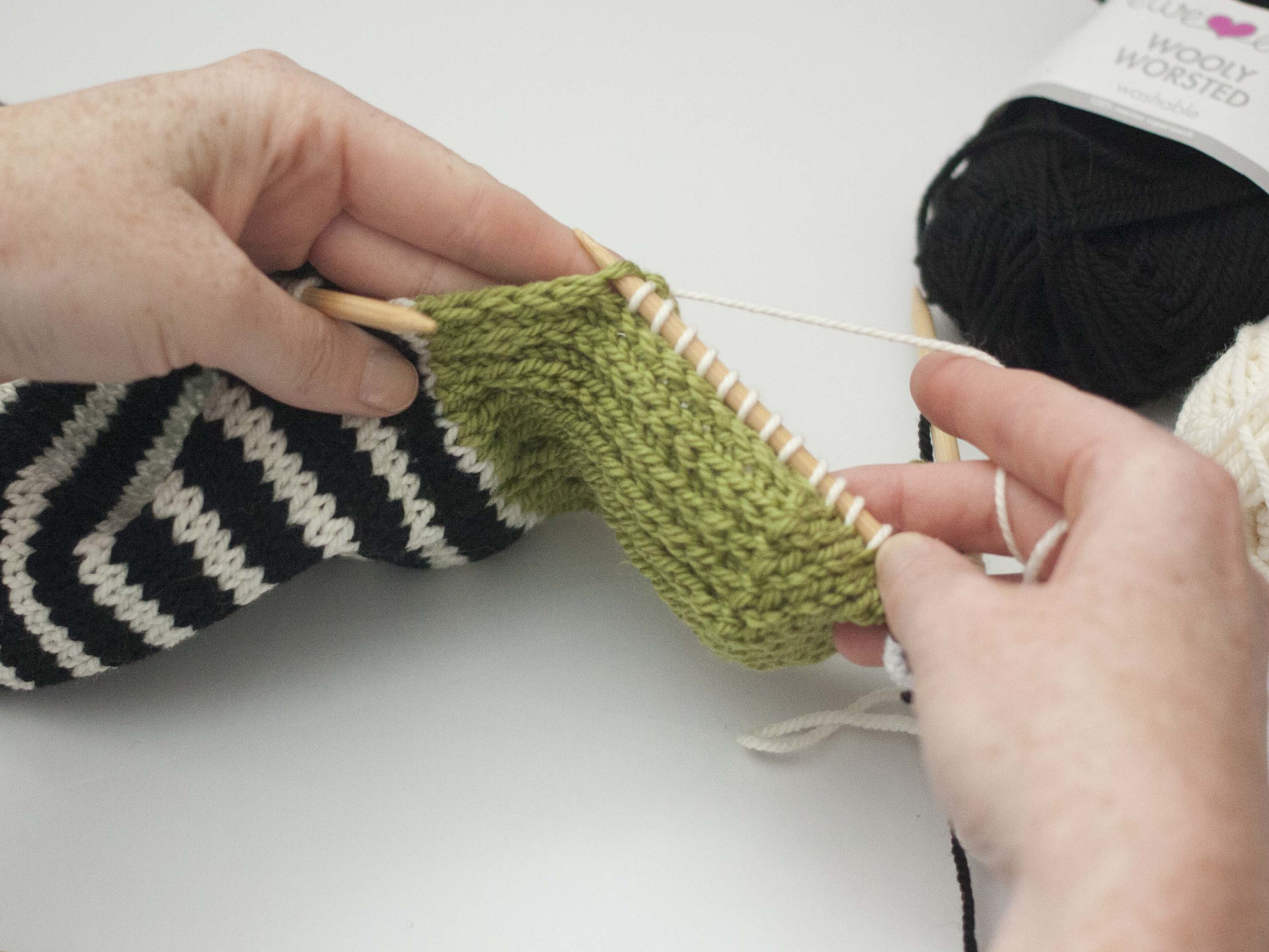 picking up stitches on a sock