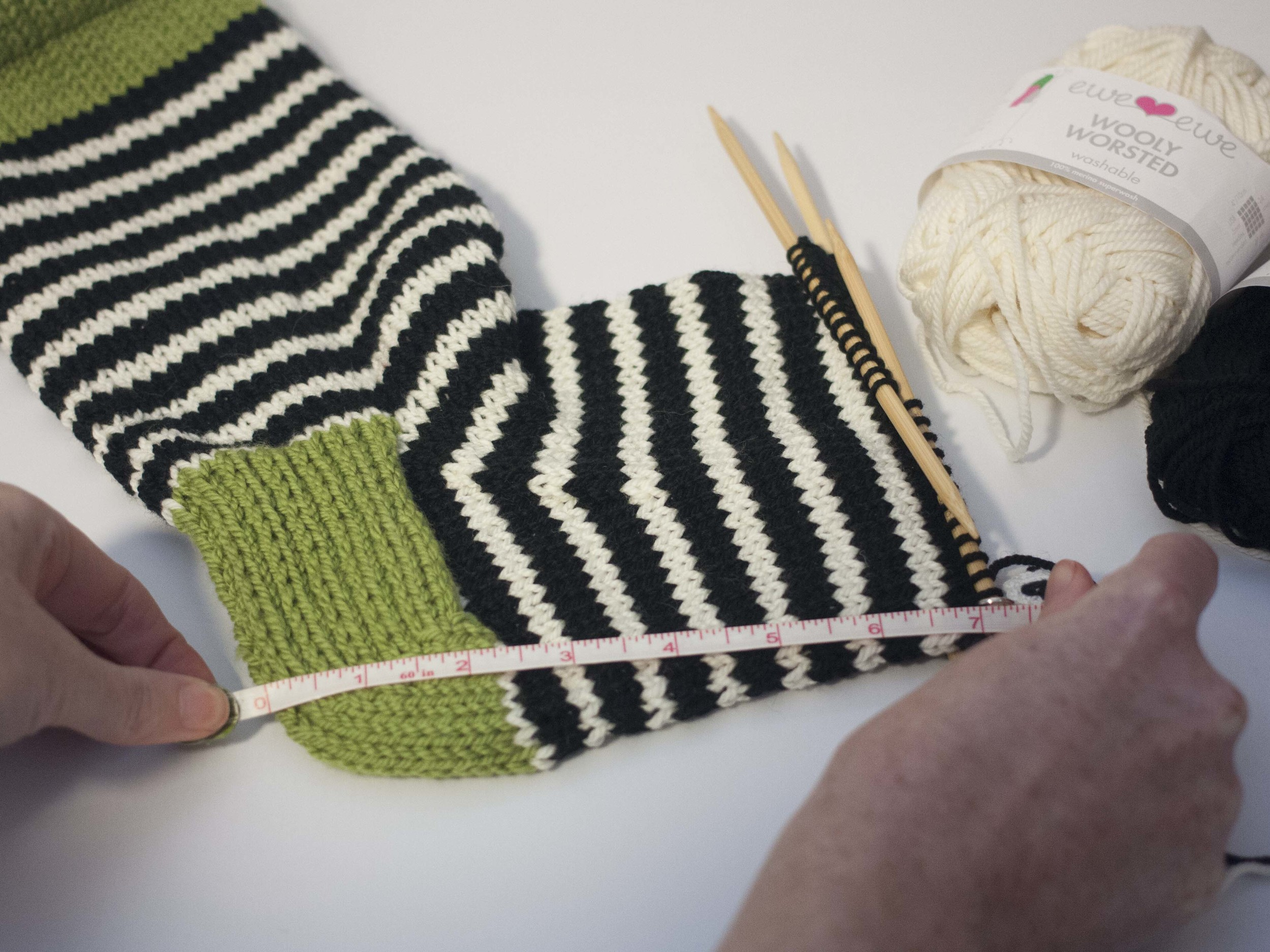working the foot of a sock