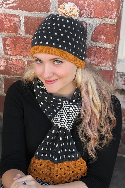 Freckles Hat & Scarf knitting pattern