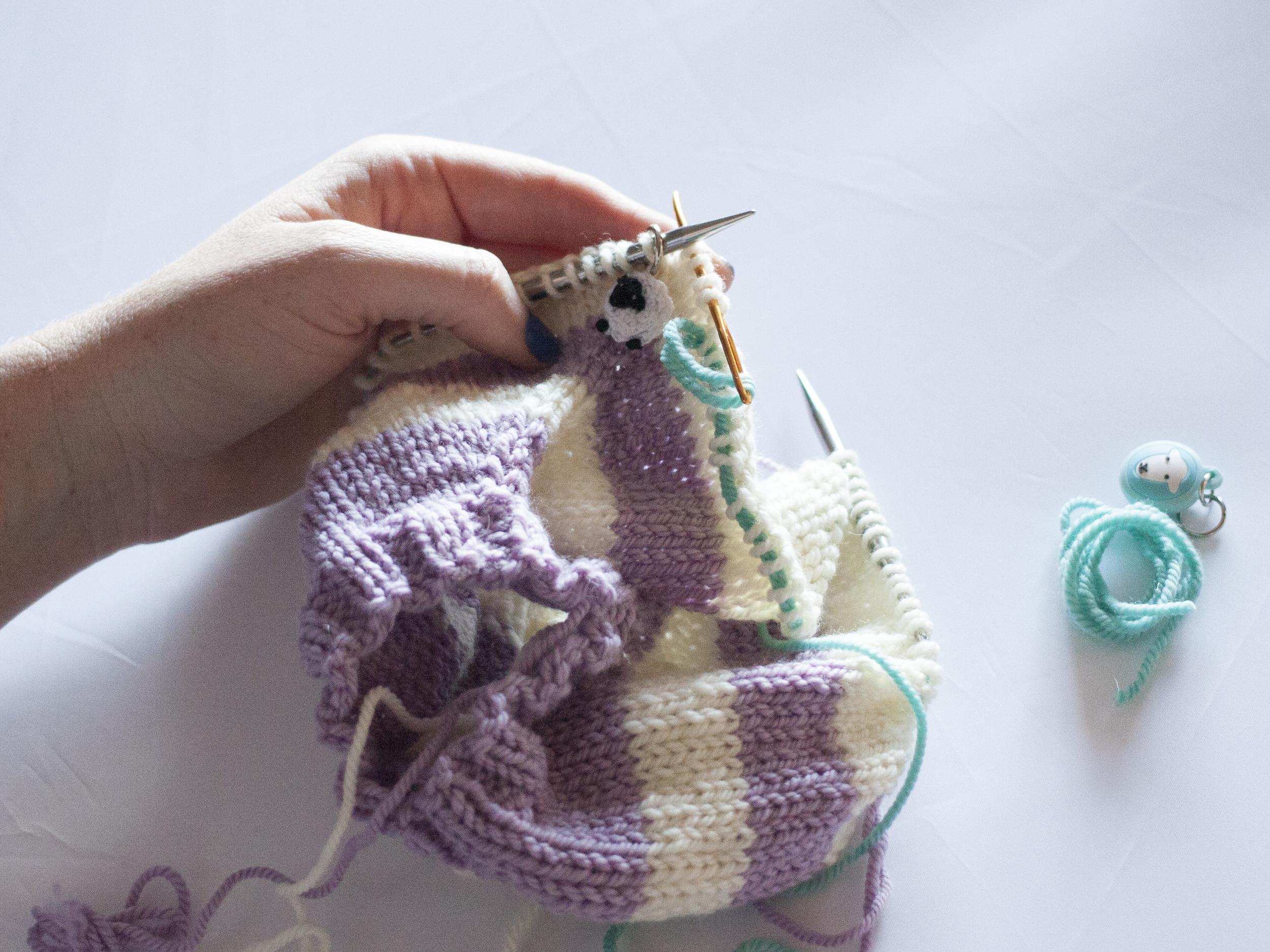 Placing stitches on a stitch holder