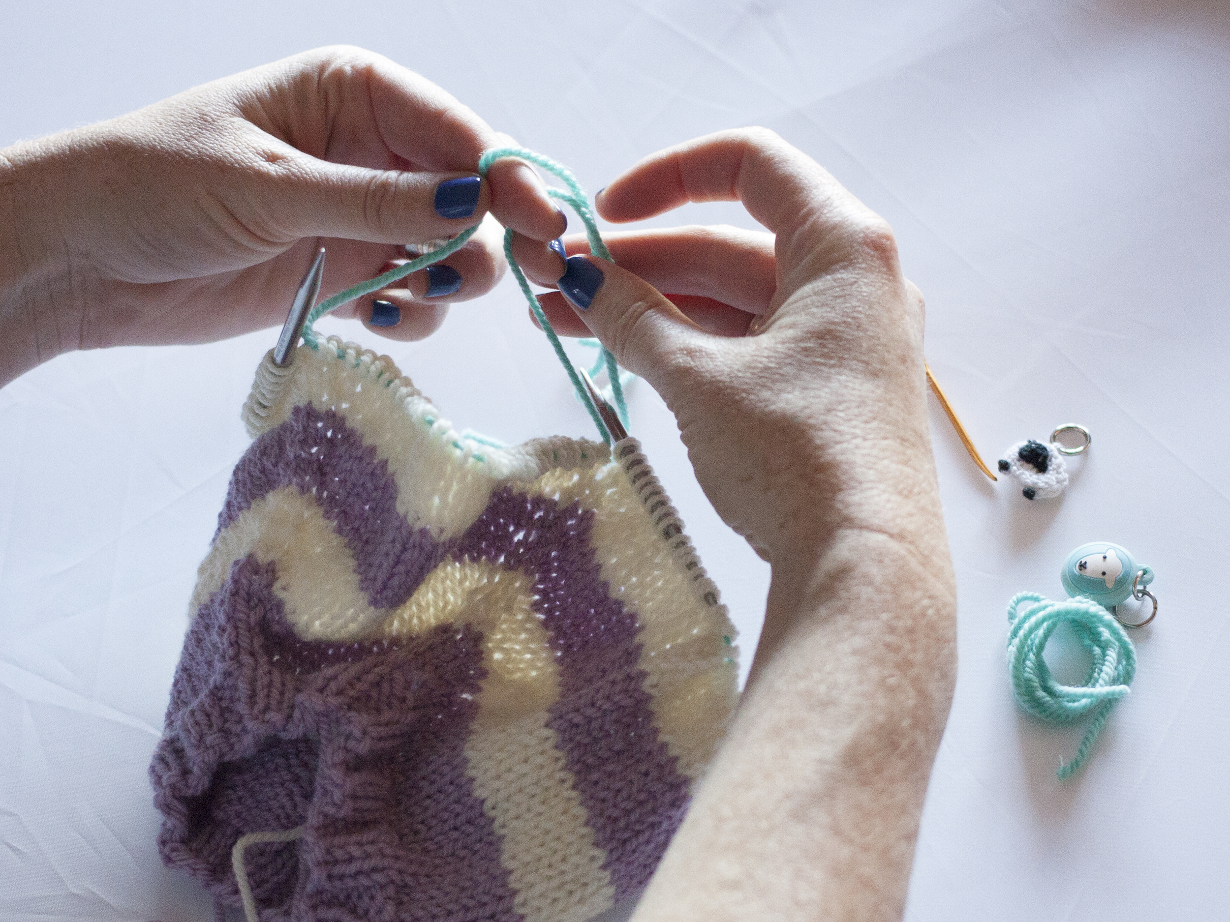 Securing knitting stitches for later