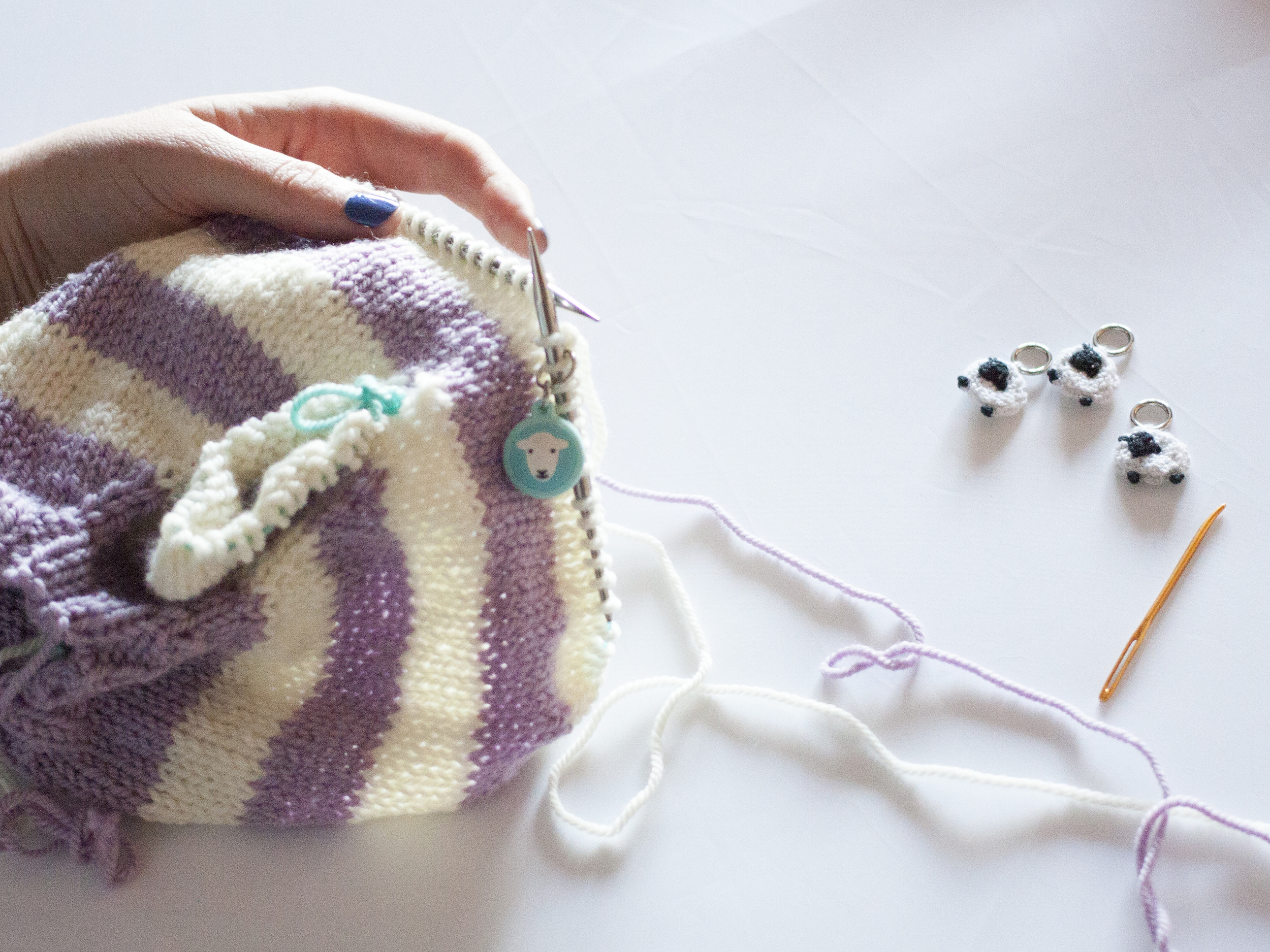 Continue knitting in stripes