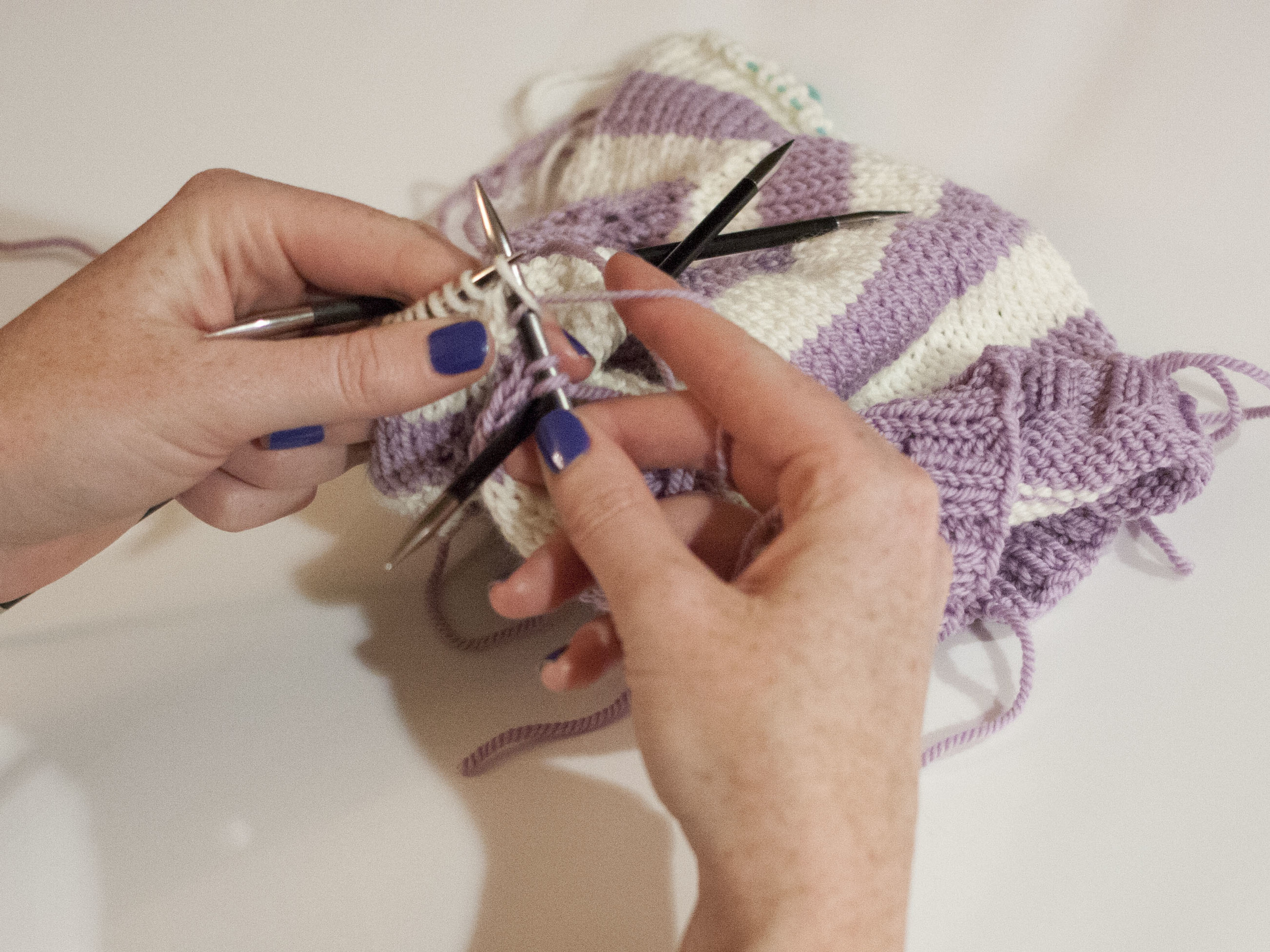 Continue knitting on double-points