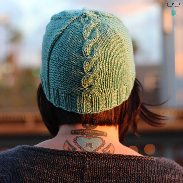 The Heather  cable hat knitting pattern designed by Meaghan Schmaltz