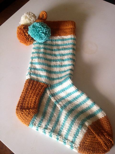 BaliBenoa's saffron and aquamarine stocking. See on  RaVELRY >