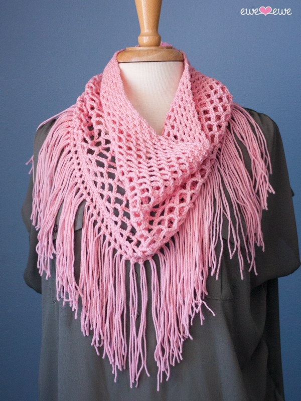 Bohemian Grove fringe crochet cowl pattern