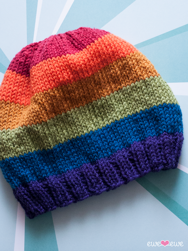 FREE:  Pride Parade  hat pattern using  Wooly Worsted yarn