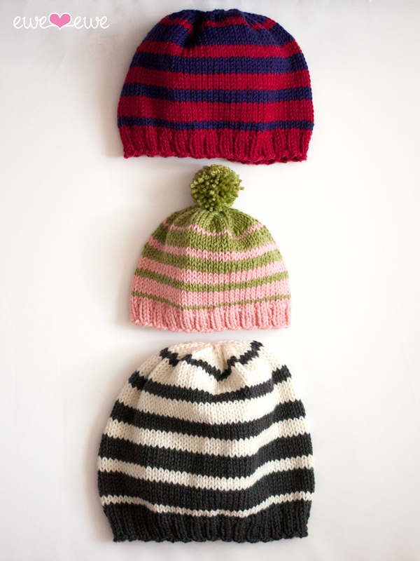 Family of Hats knitting pattern in Wooly Worsted yarn