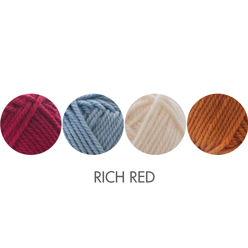 Cozy Socks kit color option:  Rich Red