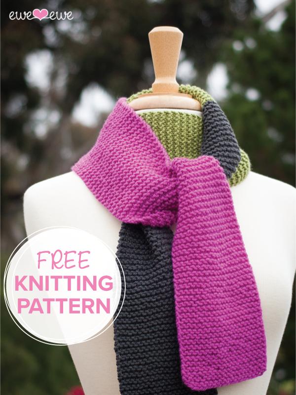 Ewe Ewe Scarf Scarf FREE knitting pattern for beginner scarf