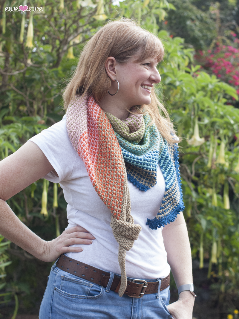 Ewe So Summer shawl knitting pattern  designed by Meaghan Schmaltz for Ewe Ewe Yarns