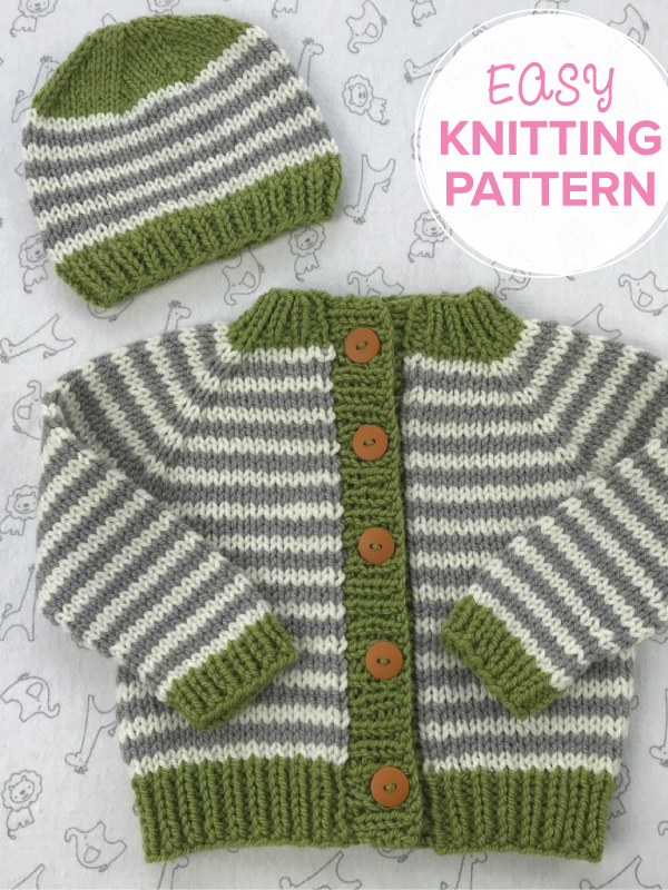 Little Coffee Bean Bulky easy baby sweater knitting pattern by The Brown Stitch