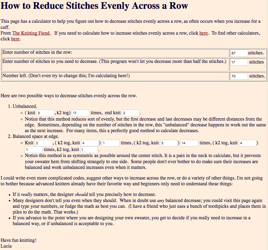 How to decrease stitches every across a row,  a free calculator!