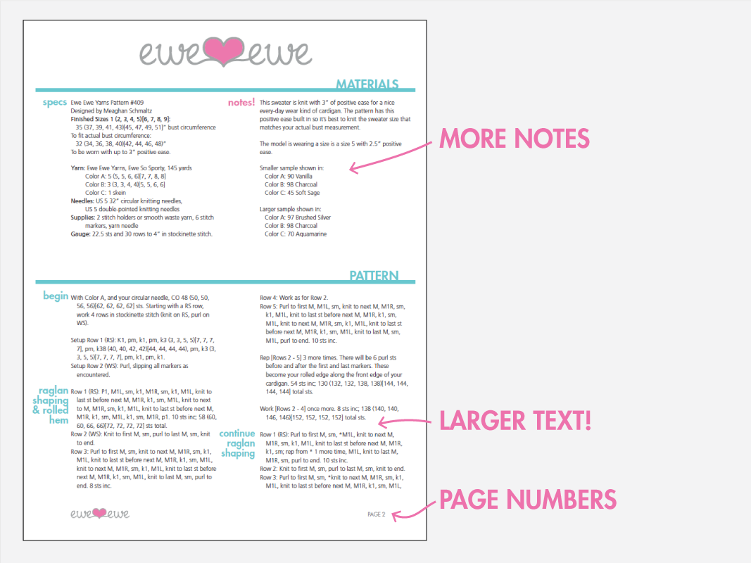 Clearer pattern pages at Ewe Ewe Yarns
