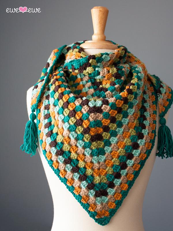 Wearever Wrap crochet granny square shawl