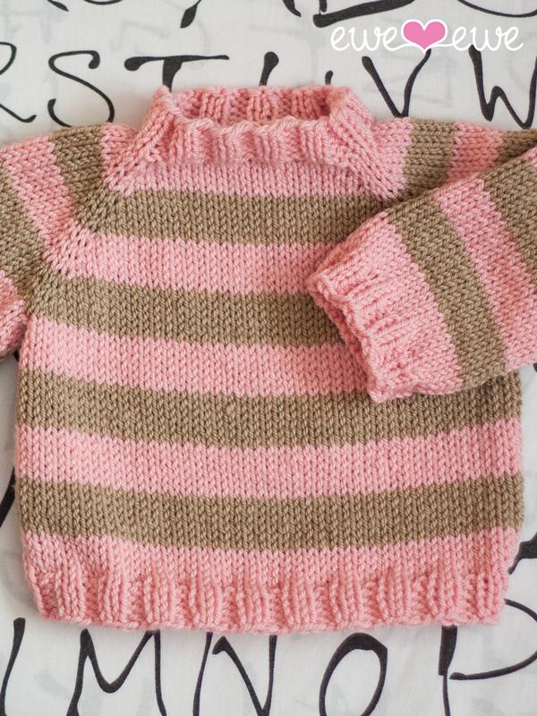 Easy As ABC top-down raglan baby sweater knitting pattern