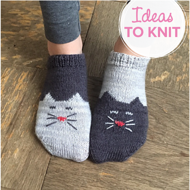 YinYang Kitty Ankle Socks knitting pattern by Geena Garcia
