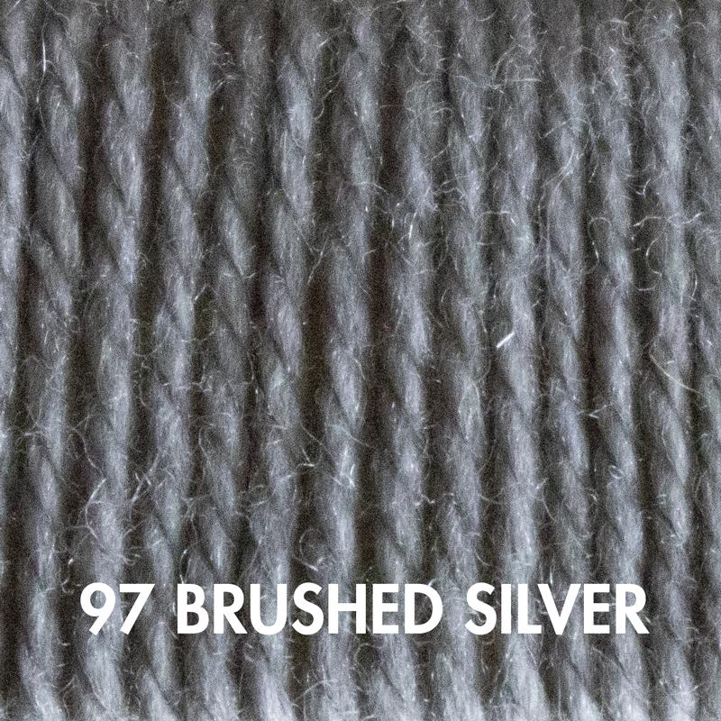 Brushed Silver Fluffy Fingering merino yarn