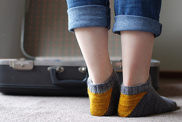 Grellow Love  socks knitting pattern designed by Clare Devine