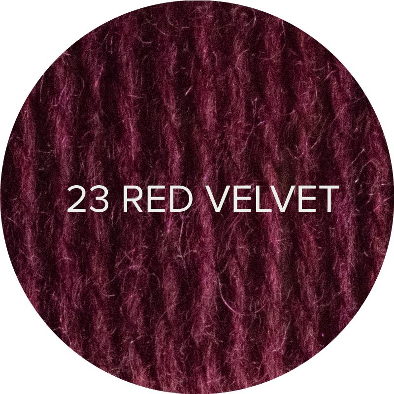 Fluffy Fingering merino sock yarn in 23 Red Velvet