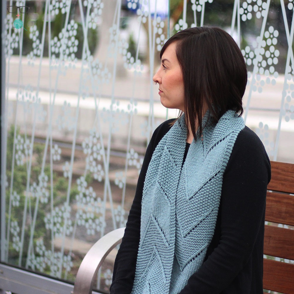 Infinity scarf knitting pattern called  Split the Distance . Great for Wooly Worsted yarn from Ewe Ewe.