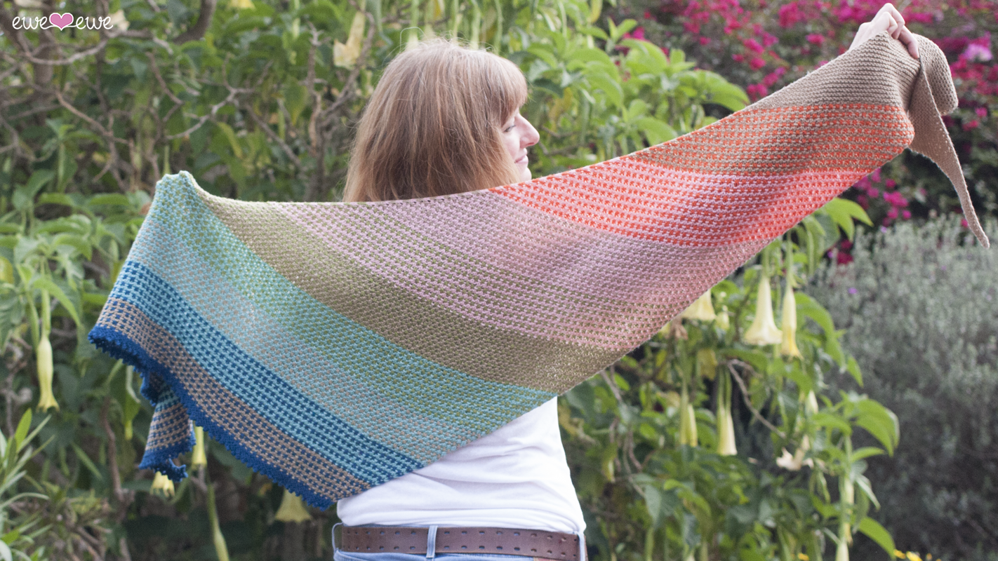 Ewe So Summer  shawl knitting pattern using Ewe So Sporty merino yarn