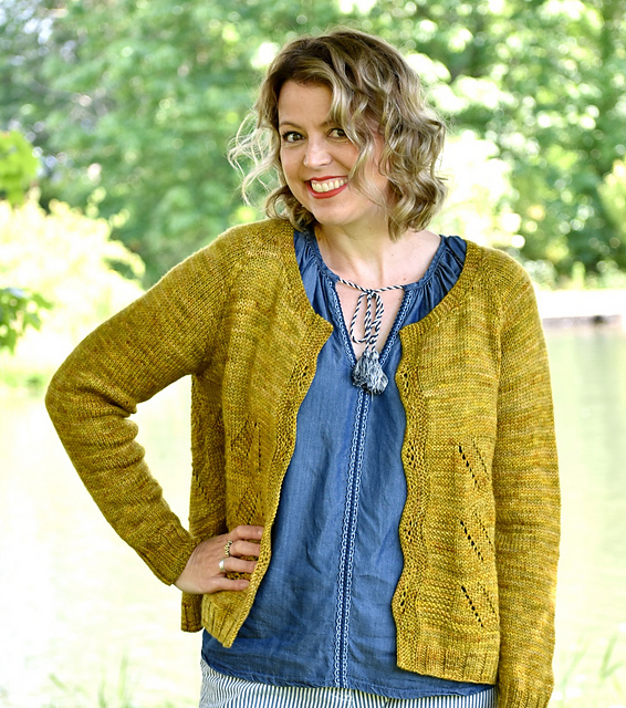 Marie Greene wearing her new Foxtrot Cardigan pattern