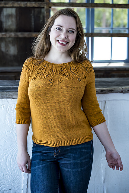 Spirit of Trees  sweater pattern by IrmianDesign using  Ewe So Sporty merino yarn  from Ewe Ewe Yarns