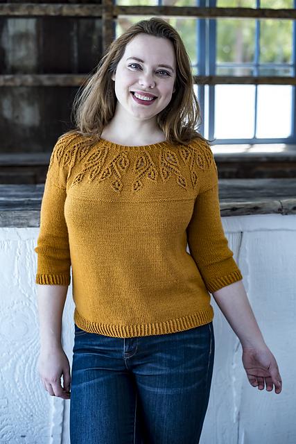 Spirit of Trees  sweater pattern by IrmianDesign using  Ewe So Sporty merino yarn  from Ewe Ewe Yarns