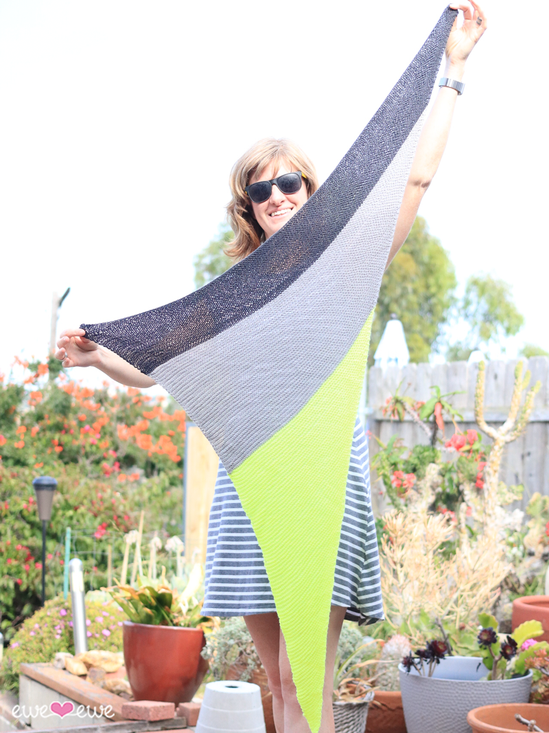 New!  Neonpolitan  wrap knitting pattern using Fluffy Fingering yarn from Ewe Ewe