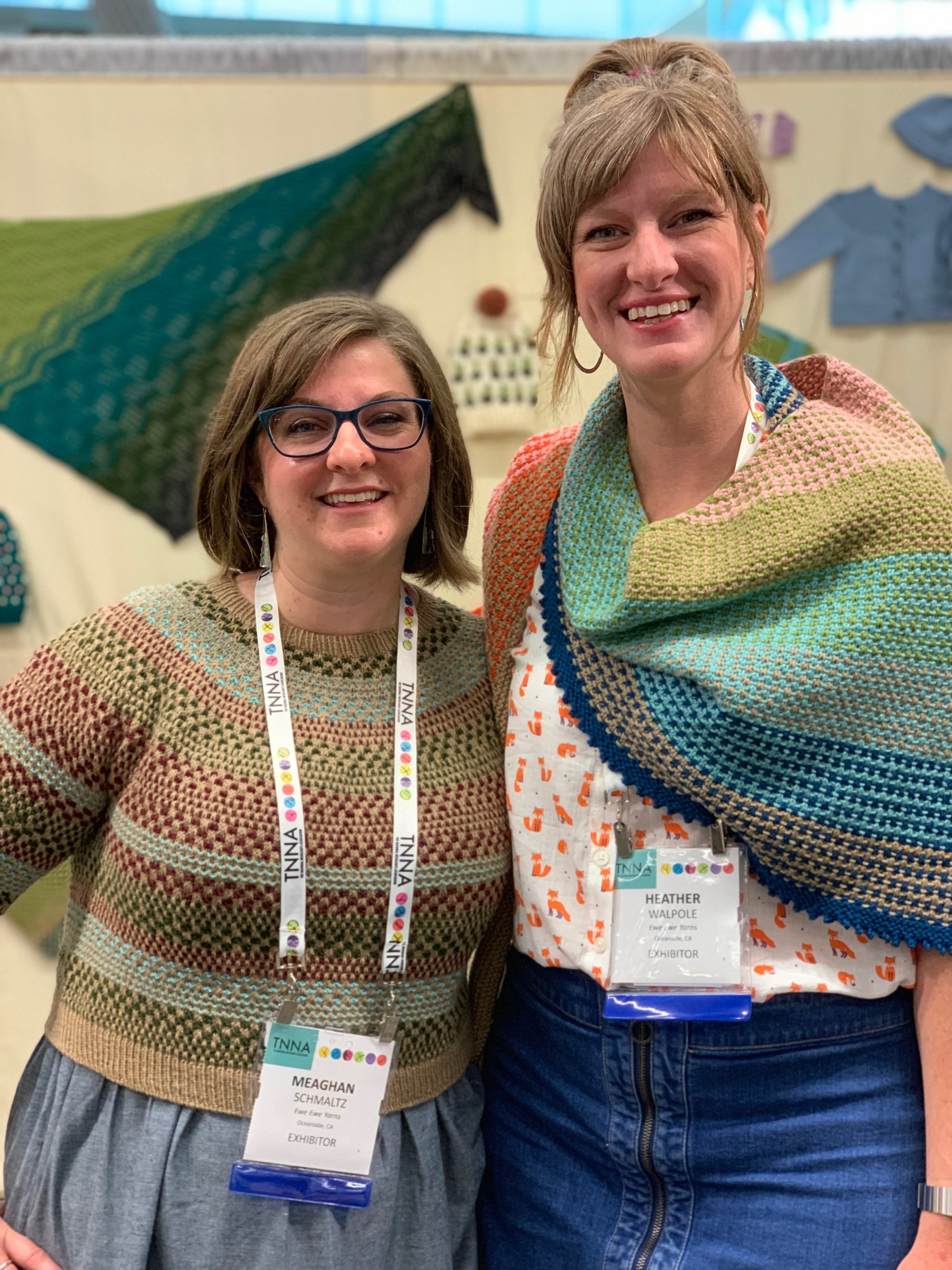 Designer Meaghan Schmaltz and Ewe Ewe Yarns owner Heather Walpole at the TNNA Trade Show in Cleveland, OH.