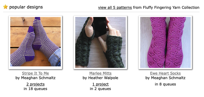 Pattern collection for Ewe Ewe Fluffy Fingering merino wool yarn on Ravelry