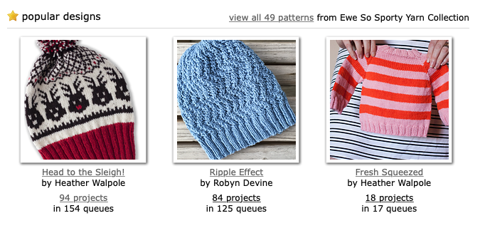 Pattern collection for Ewe Ewe Yarns Ewe So Sporty merino wool yarn on Ravelry
