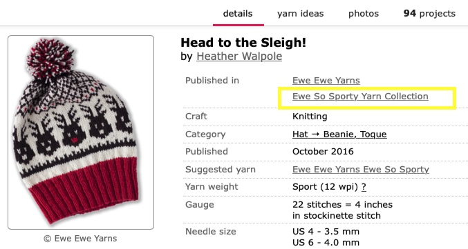 All patterns now have a yarn-specific collection listed right at the top so you can quickly see all the designs.