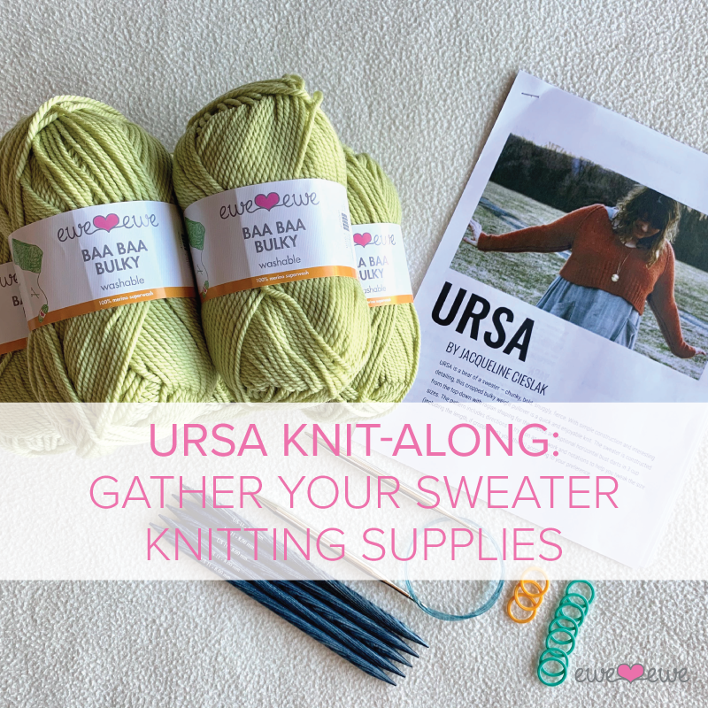 Get your Ewe Ewe yarn and supplies to knit the Ursa sweater by Jacqueline Cieslak