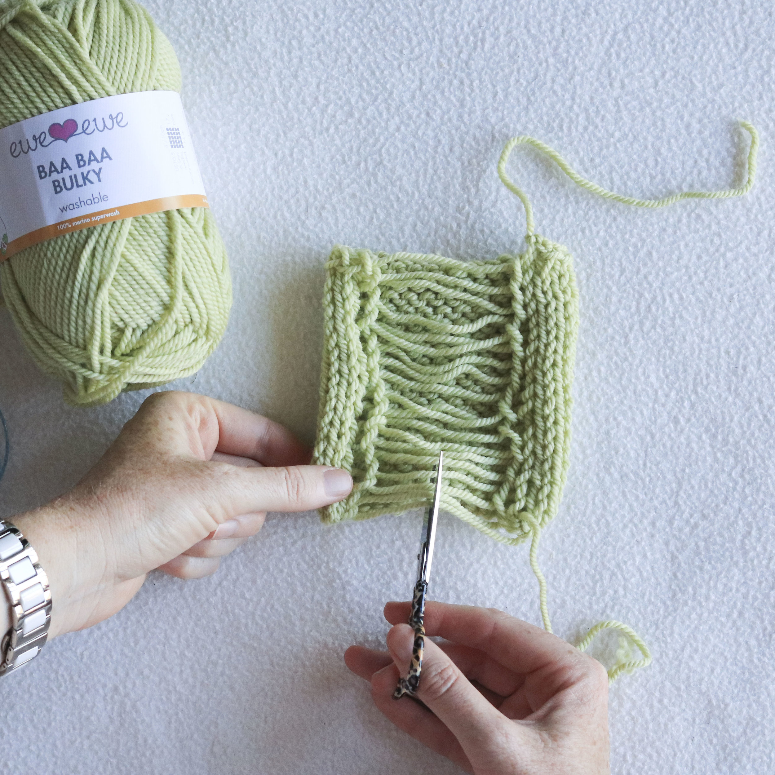 How to trim a gauge swatch knit in the round