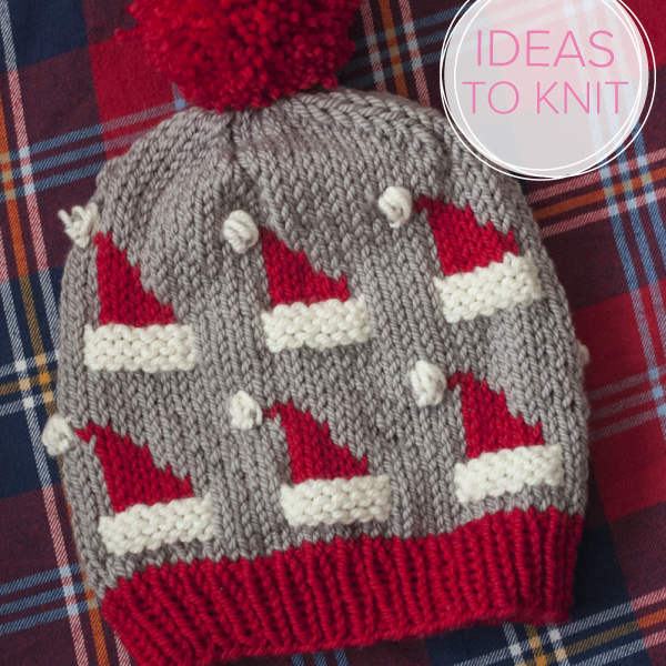 Dancing Santa Hat knitting pattern  by Amber Darling for Ewe Ewe Yarns